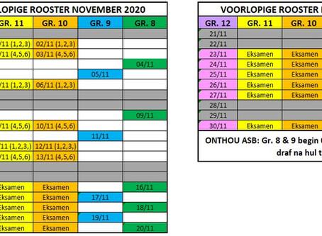 Opsomming van die klasrooster vir Oktober, November en Desember.