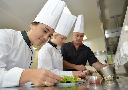 young chefs learning to cook