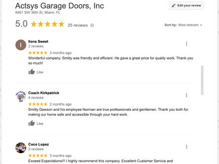 2 Garage Door Company 5 Star Google Revi