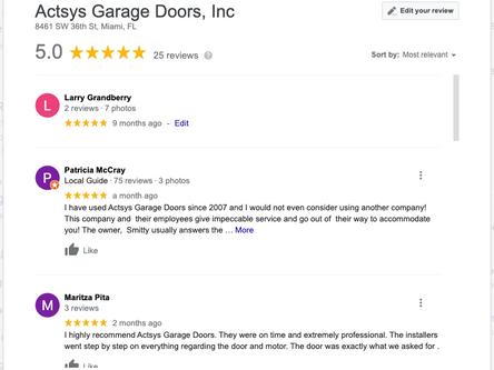 Garage Door Company 5 Star Google Review