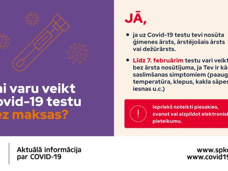 Covid-19 testu var veikt bez maksas un bez ārsta nosūtījuma