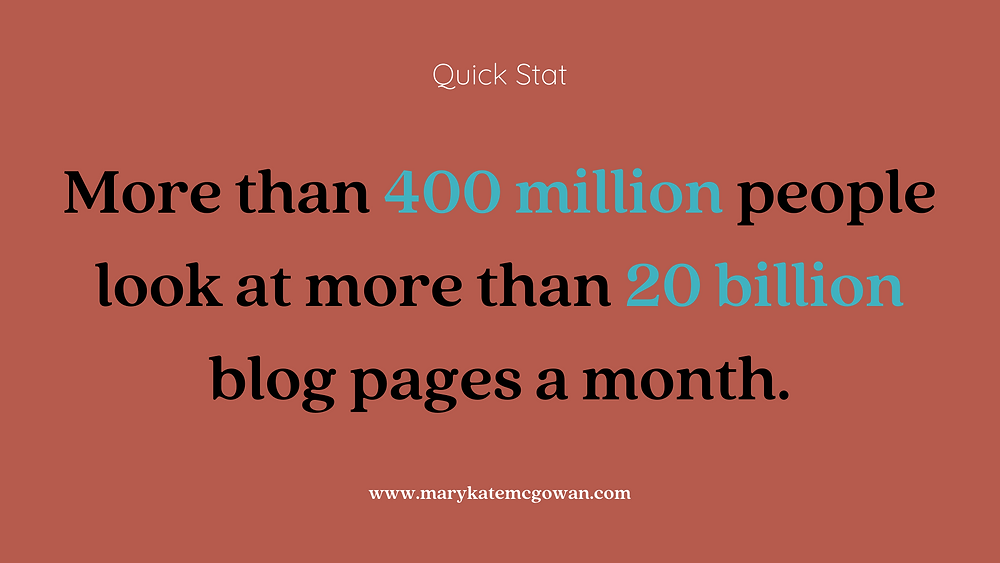 More than 400 million people look at more than 20 billion blog pages a month.