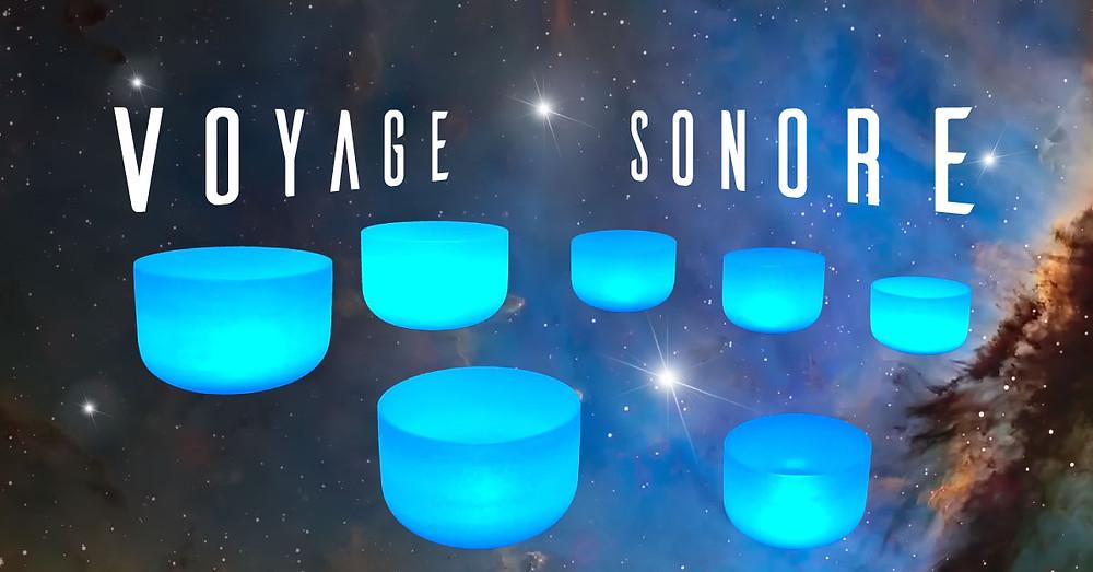 Voyage Sonore avec bols de cristal et les couleurs lumineuses des Sensosphères.