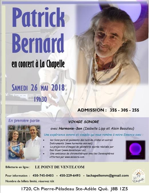 Patrick Bernard et Harmonie-Son à la Chapelle de Ste-Adèle le 26 mai.