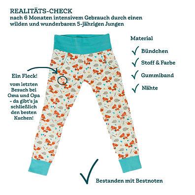 Hier siehst du eine viel getragene und gewaschene pajama-day-Hose nach einem halbenJahr: