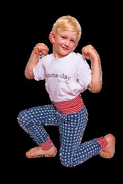 Die slim-fit-Mitwachshose  Meine pajama-day-Hosen sind daher extra schmal und lang geschnitten.