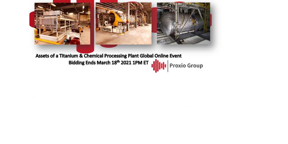 Vente aux enchères d'équipement d'usine de traitement de titane et de produits chimiques