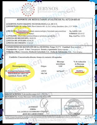 Nanoxen® resultados pruebas CORONAVIRUS