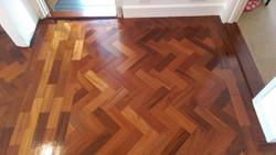 Redwood parquet floor