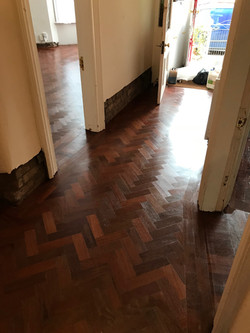 Reclaimed jatoba parquet floor