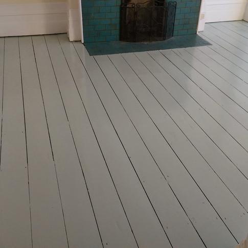 Painted pine floorboards
