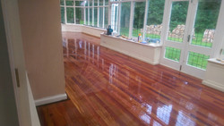 Lacquered redwood flooring
