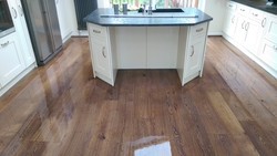 Sanded and stained oak floor