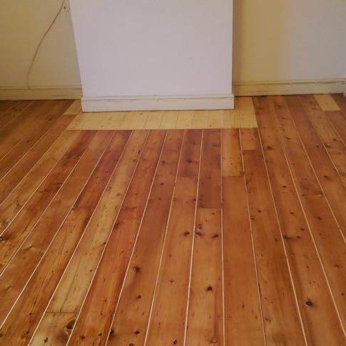 Sanded pine floorboards