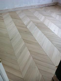 Chevron oak flooring