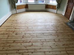 Pine floorboards sanded