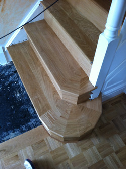 Steps cladded with oak wood