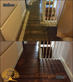 Pine floorboards sanded and finished