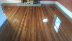 Original redwood strip flooring