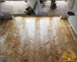 Reclaimed pine parquet floor