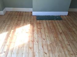 Sanded floorboards