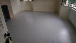 Floor paint on pine floorboards