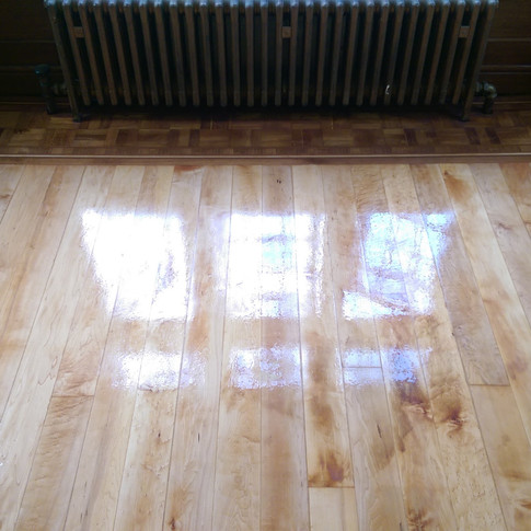 Original maple floor with oak border