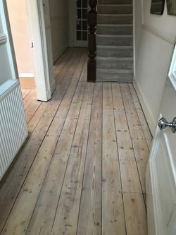 Pine floorboards hallway