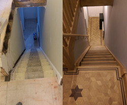 Custom oak stairs and hallway