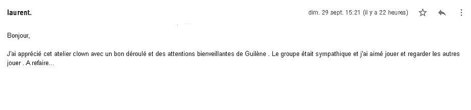 commentaire atelier clown adulte guilène Loizeau Mademoiselle Zelle