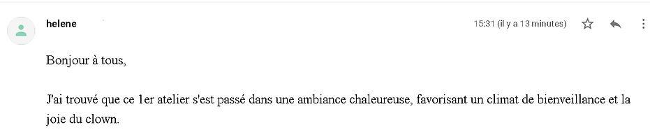 commentaire atelier clown Guilène Loizea