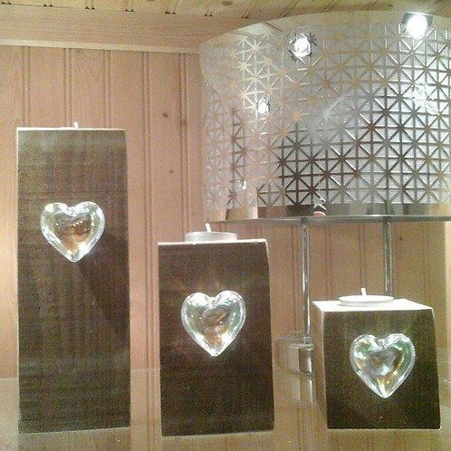 Glass Heart Rustic Tealight Pillar Trio