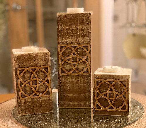 Rustic Celtic Square Tealight Pillar Trio