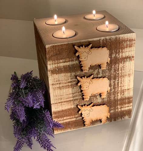 Extra Large Rustic Highland Cow 4 Tealight Holder