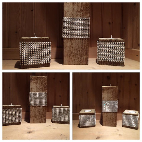 Bling Belted Tealight Pillar Trio