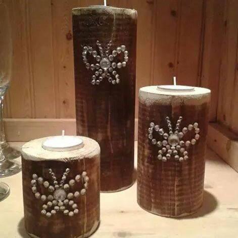 Butterfly Rustic Tea light Pillar Trio
