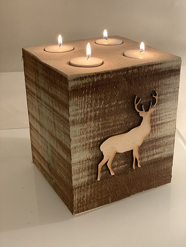 Extra Large Rustic Highland Stag 4 Tealight Holder