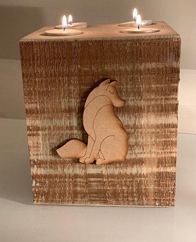 Extra Large Rustic Wolf 4 Tealight Holder