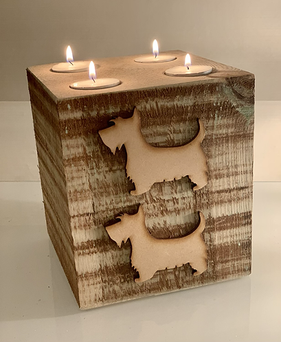 Extra Large Rustic Scottie Dog 4 Tealight Holder