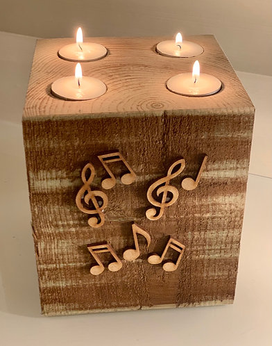 Extra Large Rustic Musical Notes 4 Tealight Holder