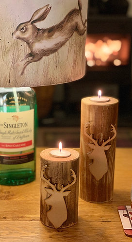 Rustic Large Stag Tealight Pillar Trio (only 2 in picture)