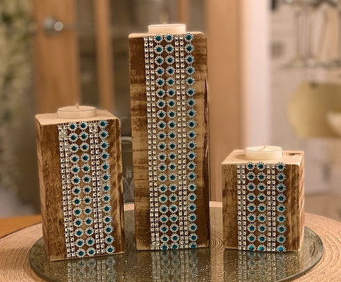 Rustic Tealight Pillar Trio with Turquoise Waterfall Design