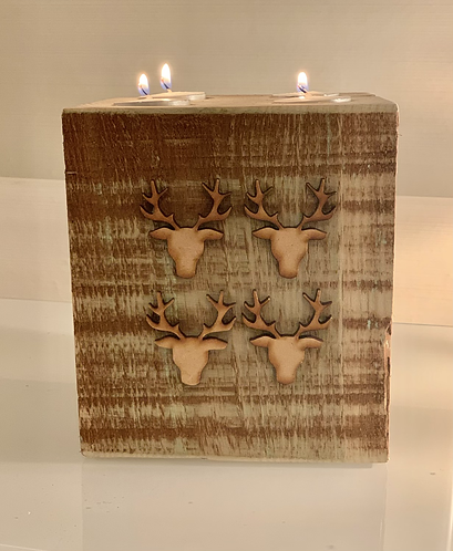 Extra Large Rustic Stag Head 4 Tealight Holder
