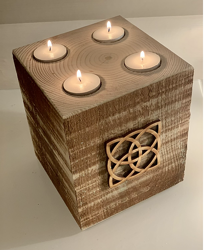 Extra Large Rustic Celtic Square 4 Tealight Holder
