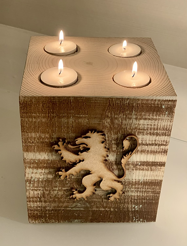 Extra Large Rustic Rampant Lion 4 Tealight Holder