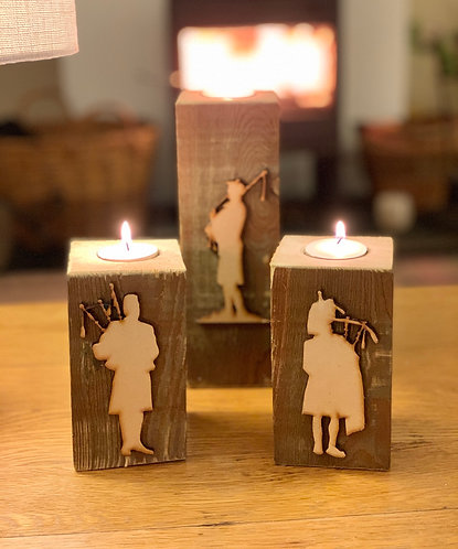 Rustic Scottish Piper Tealight Pillar Trio