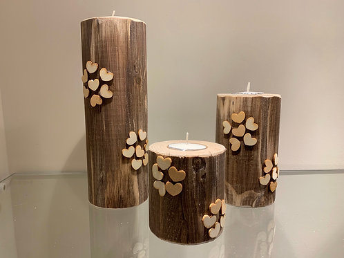 Nature on Nature Heart Designed Pillar Trio