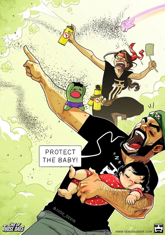 """Комикс Иегуда Девир / Yehuda Devir """"Схватка с комарами"""". Студия комиксов Vaes Okshn."""
