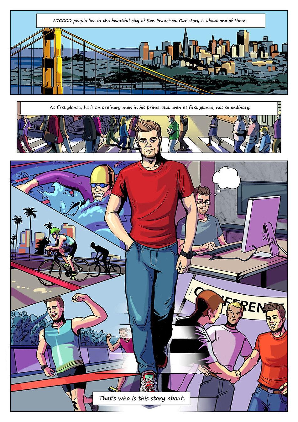 Авторский комикс на заказ. Человек - медведь. Страница 1