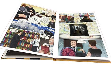 Авторский комикс на заказ для подарка в виде книги в твердом переплете